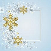Winter frame with white and golden snowflakes on a blue background. Design for new year and Christmas. Vector illustration.