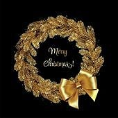Christmas Wreath Gold Pine Branches. Vector illustration. Christmas Wreath Pine Branches