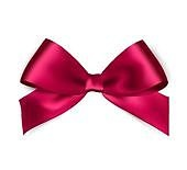 Shiny red satin ribbon on white background. Vector red bow and ribbon.. Shiny red satin ribbon on white background.