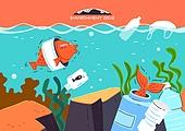 환경오염, 공해 (환경오염), 자연 (주제), 파괴, 환경 (주제), 일러스트