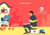 일러스트, 사고, 사고재해, 사고접수 (보험), 안전, 사고재해 (주제), 산업근로자, 노동자 (직업)