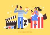 상업이벤트 (사건), SNS (기술), 소셜미디어마케팅 (디지털마케팅), 인증 (컨셉), 청년 (성인), 리뷰, 스마트폰, 커플, 영화, 영화관, 슬레이트 (미디어장비), 팝콘