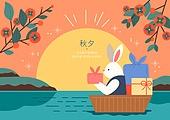 상업이벤트 (사건), 추석 (명절), 명절 (한국문화), 명절, 토끼 (토끼목), 캐릭터, 한복, 보름달, 감나무, 선물 (인조물건)