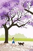 여름, 풍경 (컨셉), 여성 (성별), 라이프스타일, 휴식, 나무, 자연 (주제), 애완견 (개), 걷기 (물리적활동), 공원