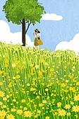 여름, 풍경 (컨셉), 여성 (성별), 라이프스타일, 휴식, 나무, 자연 (주제), 꽃밭, 야생화 (야생식물)