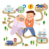 사회복지 (사회이슈), 공동체, 라이프스타일, 자원봉사자 (역할), 지역봉사활동 (사회복지), 도움, 길, 마을, 노인 (성인)