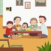 추석 (명절), 명절 (한국문화), 전통문화 (주제), 가족, 함께함 (컨셉), 거실, 대가족 (가족), 고양이 (고양잇과)
