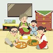 추석 (명절), 명절 (한국문화), 전통문화 (주제), 가족, 함께함 (컨셉), 송편, 대가족 (가족)