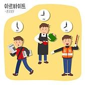 직업, 시간제근무 (직업), 프리터족 (시간제근무), 청년 (성인), 주차요원, 바리스타, 신문배달부