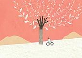 가을, 백그라운드, 풍경 (컨셉), 나무, 동화, 단풍나무 (낙엽수), 자전거