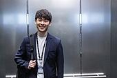 엘리베이터, 한국인, 비즈니스맨, 출퇴근, 즐거움 (컨셉)