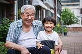 노인남자 (성인남자), 사회복지 (사회이슈), 조손가정 (가족), 어린이 (인간의나이), 미소, 밝은표정