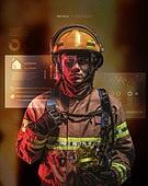 그래픽이미지, 합성, 5G, 가상현실 (컨셉), 증강현실, 소방관, 응급서비스직업 (직업), 맹화 (불), 방화복 (방호복), 소방관 (응급서비스직업), 남성, 생명, 화재보험