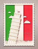 종이 (재료), 페이퍼아트, 국기, 랜드마크, 우표, 프레임, 우편엽서 (편지), 이탈리아 (남부유럽), 피사의사탑