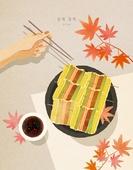 음식, 명절 (한국문화), 추석 (명절), 가을, 탑앵글 (카메라앵글), 전통음식, 사람손 (주요신체부분), 산적, 꼬치
