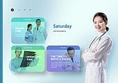 그래픽이미지 (Computer Graphics), 합성, 5G, 생활계획표 (프로젝트), 의사, 병원 (의료시설), 여성, 건강관리 (주제)