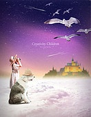 그래픽이미지, 합성, 환상 (컨셉), 꿈같은 (컨셉), 희망, 어린이 (인간의나이), 상상력 (컨셉), 창의성 (컨셉), 소녀, 구름, 성 (건설물)