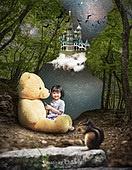 그래픽이미지, 합성, 환상 (컨셉), 꿈같은 (컨셉), 희망, 어린이 (인간의나이), 상상력 (컨셉), 창의성 (컨셉), 아기 (인간의나이), 숲, 테디베어 (장난감)