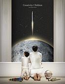 그래픽이미지, 합성, 환상 (컨셉), 꿈같은 (컨셉), 희망, 어린이 (인간의나이), 상상력 (컨셉), 창의성 (컨셉), 아빠, 아들, 로켓 (우주선)