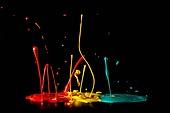 물 (자연현상), 파장, 파문 (물체묘사), 백그라운드, 패턴, 물결, 방울 (액체), 잉크, 페인트 (예술도구), 모션, 활력, 수채물감, 추상, 미술 (미술과공예), 번짐, 재질 (물체묘사), 컬러, 노랑색 (색상), 빨강, 녹색 (색상)