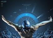 그래픽이미지, 5G, 가상현실 (컨셉), 스포츠, 운동, 건강관리 (주제), 근육질 (사람체격), 자료 (정보매체), 체력, 남성, 올림픽, 수영 (수상스포츠)