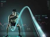 그래픽이미지, 5G, 가상현실 (컨셉), 스포츠, 운동, 건강관리 (주제), 근육질 (사람체격), 자료 (정보매체), 체력, 남성, 올림픽, 크로스핏