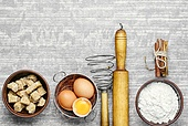baking ingredients for cooking.Eggs,brown sugar and wheat flour.Copy space