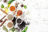 peppercorn and Indian spice. Variety of spices and seasonings on kitchen table