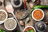 choice Indian spice. set of aromatic Indian spices and condiments on wooden retro background