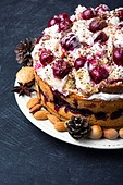 home cream pie with cherry in a rustic style. pie with cherry
