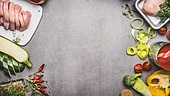 Healthy or diet food background with raw chicken breast and various vegetables for tasty cooking, top view, banner