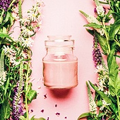 Natural herbal skin care cosmetic concept. Glass jar with cream and fresh herbs and flowers on pink background, top view, copy space, square.  Beauty, skin and hair care concept