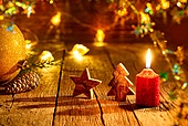 Christmas tree star and candle vintage rustic wooden background decoration