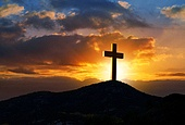 Crucifixion cross symbol of Golgotha in Christian religion photo mount