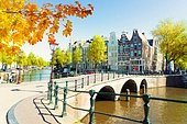 houses of Amsterdam Netherlands over canal ring landmark in old european city, Amsterdam fall scenery. Houses of Amstardam, Netherlands