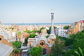 Gaudi spires and cityscape of Barcelona from park Guell, Spain. park Guell, Barcelona