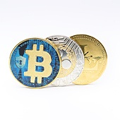 in the white background and copy space the coin of bitcoin litecoin and ripple  like concept of future and investment