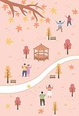 일러스트, 벡터 (일러스트), 가을, 계절, 단풍나무 (낙엽수), 여행