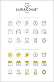 아이콘세트 (아이콘), 라인아이콘, 단순 (컨셉), 노랑색 (색상), 알람, 초시계, 달력, 스케쥴