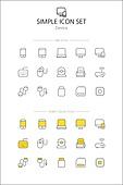 아이콘세트 (아이콘), 라인아이콘, 단순 (컨셉), 노랑색 (색상), 디지털, 디바이스, 화면, 핸드폰
