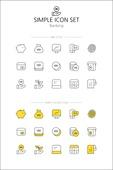 아이콘세트 (아이콘), 라인아이콘, 단순 (컨셉), 노랑색 (색상), 뱅킹, 은행, 금융, 돈