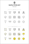 아이콘세트 (아이콘), 라인아이콘, 단순 (컨셉), 노랑색 (색상), 비즈니스, 네트워크, 인터넷, 서버