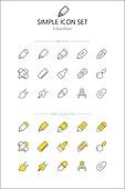 아이콘세트 (아이콘), 라인아이콘, 단순 (컨셉), 노랑색 (색상), 만년필, 크레파스, 마카, 매직