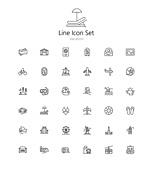 아이콘세트 (아이콘), 라인아이콘, 캠핑카, 휴가, 여행