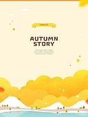 일러스트, 벡터 (일러스트), 가을, 팝업, 프레임, 단풍잎, 상업이벤트 (사건), 캠핑카, 사람, 나무