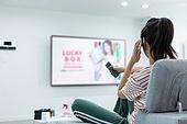 여성, 홈쇼핑, 주문, 스마트폰, 통화중 (움직이는활동)