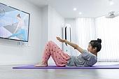 여성, 스트레칭, 홈트레이닝, 윗몸일으키기 (근육강화운동), 다이어트