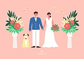 결혼 (사건), 축하이벤트 (사건), 결혼, 웨딩드레스 (드레스), 부부, Just Married (짧은문구), 꽃, 애완견 (개)