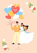 결혼 (사건), 축하이벤트 (사건), 결혼, 웨딩드레스 (드레스), 부부, Just Married (짧은문구), 꽃, 풍선