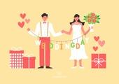 결혼 (사건), 축하이벤트 (사건), 결혼, 웨딩드레스 (드레스), 부부, Just Married (짧은문구), 꽃, 선물 (인조물건), 꽃다발